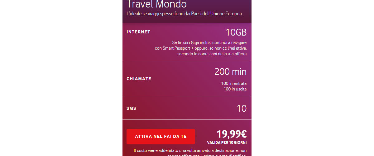 come navigare all'estero Vodafone Travel Mondo