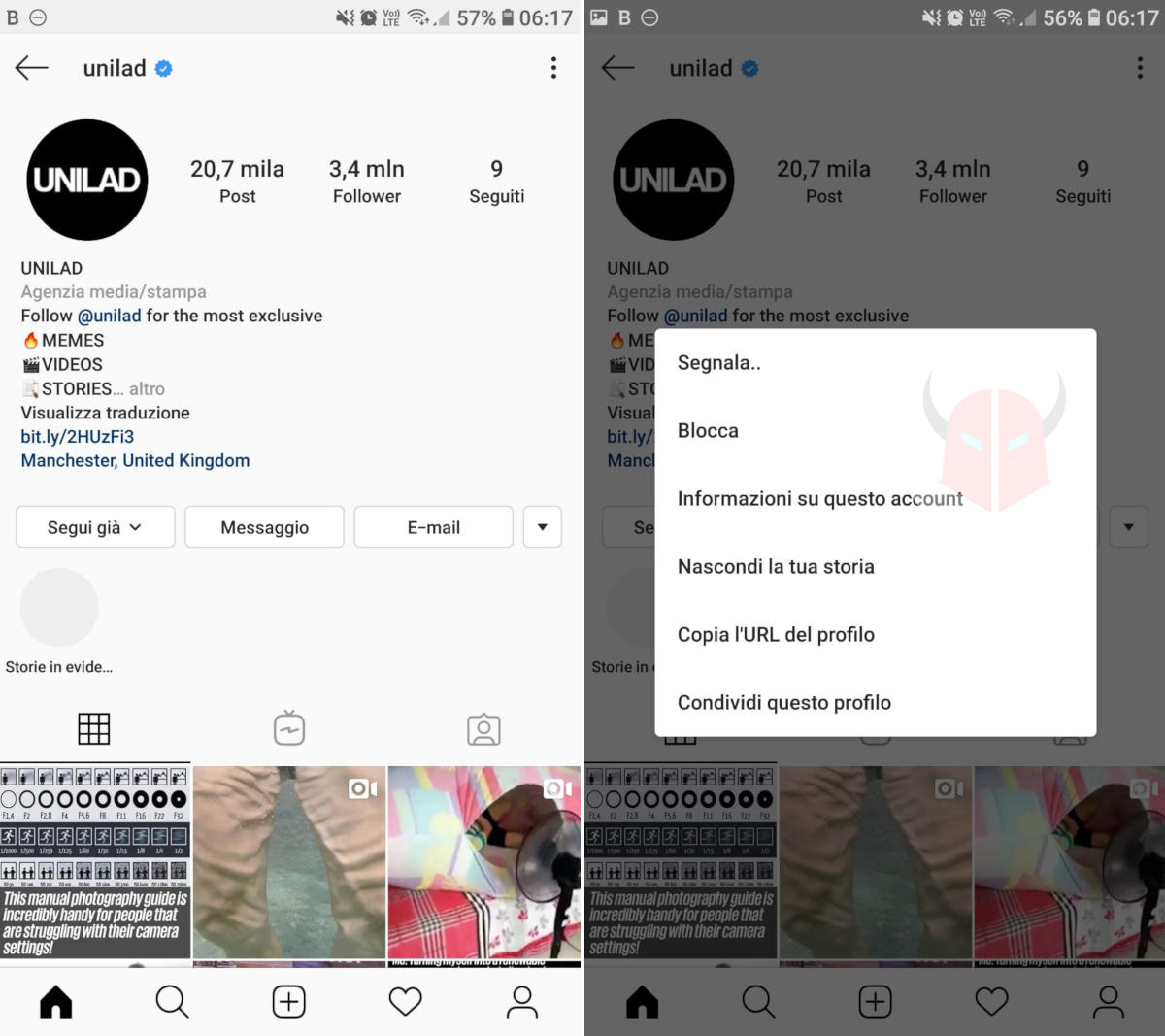 come unfolloware su Instagram blocco