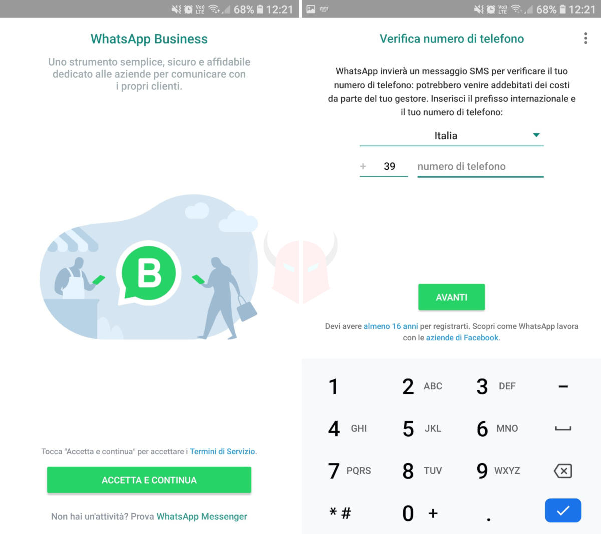 WhatsApp Business prima installazione