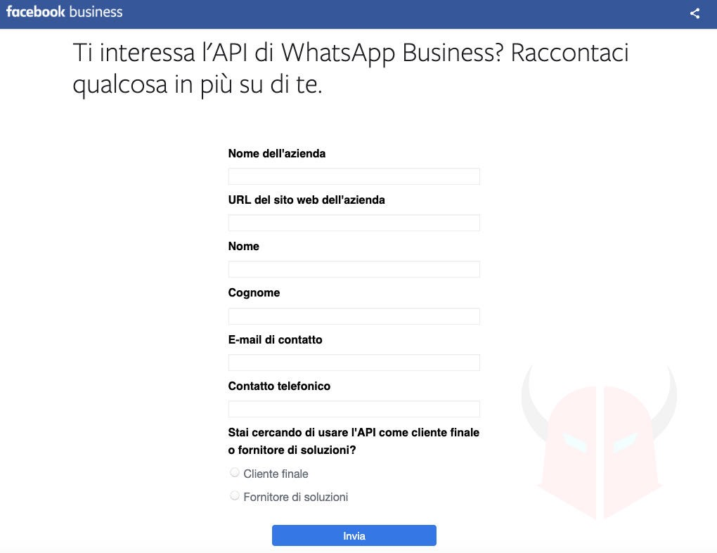 WhatsApp Business registrazione API