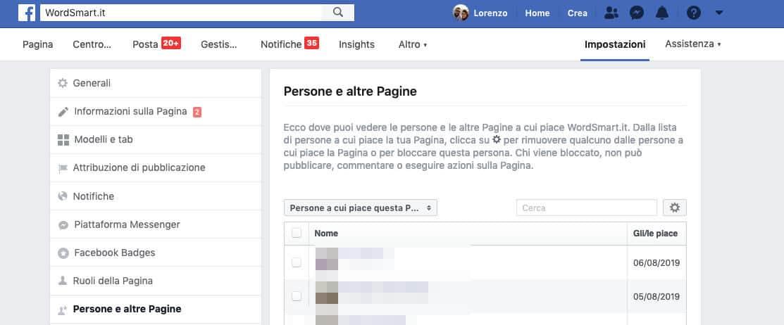 come vedere i fan della propria Pagina Facebook opzione Persone e altre Pagine