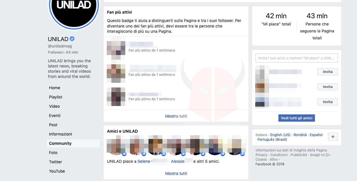 come vedere i fan di una Pagina Facebook gestita da altri sezione Community