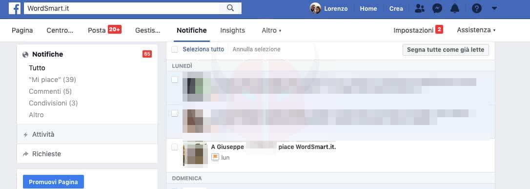 come vedere i fan di una Pagina Facebook notifiche Pagina