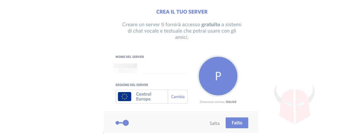 schermata di creazione guidata server Discord