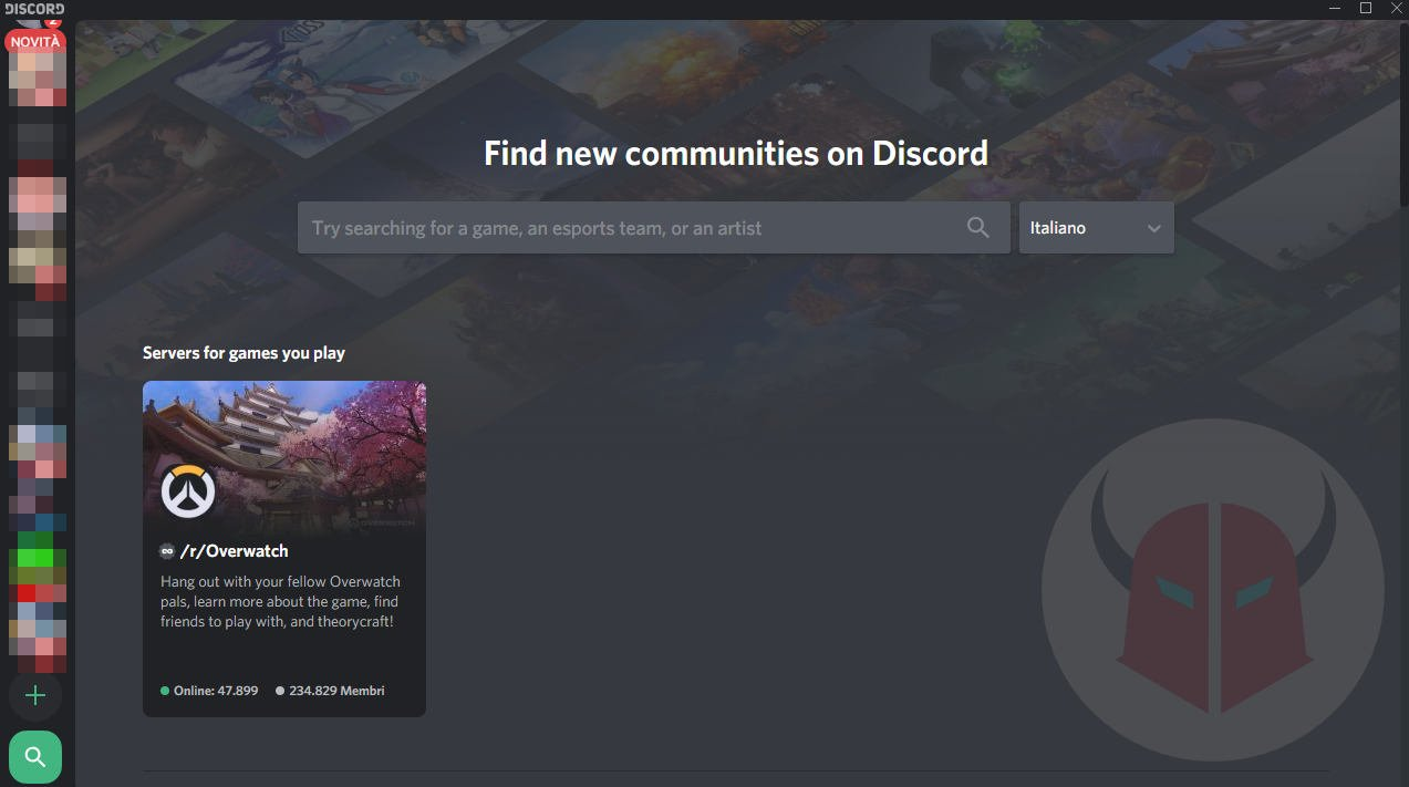 schermata di ricerca server Discord