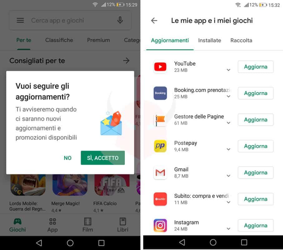 come aggiornare Android app Google Play