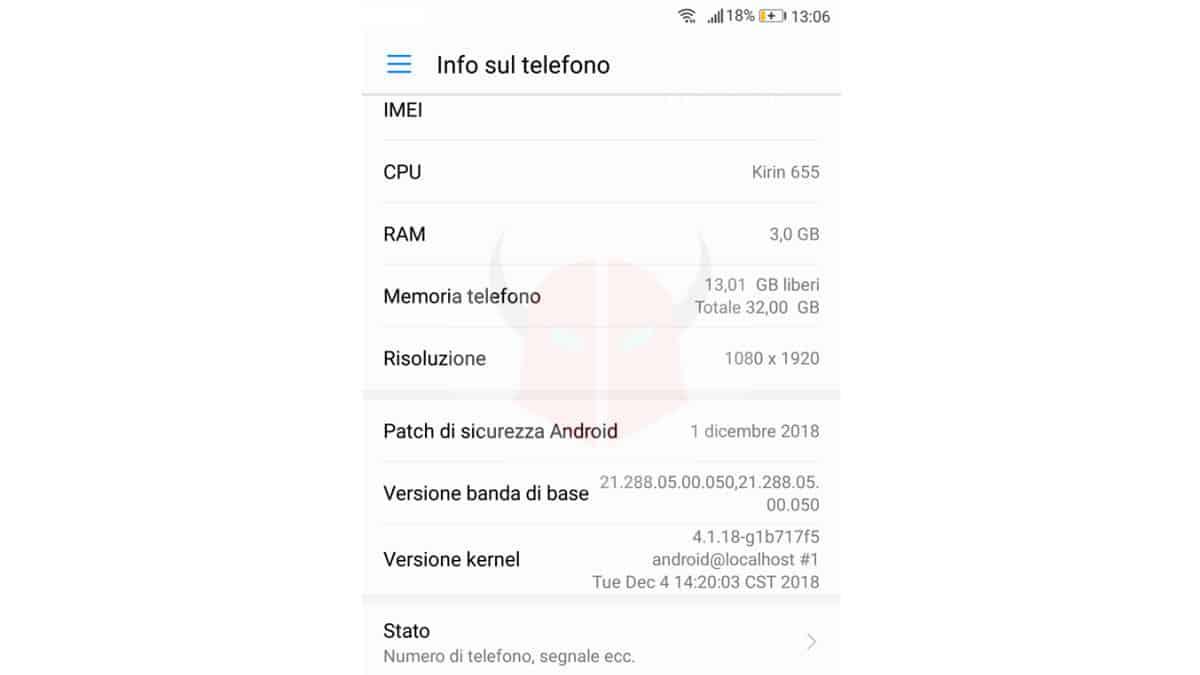come aggiornare Android info telefono