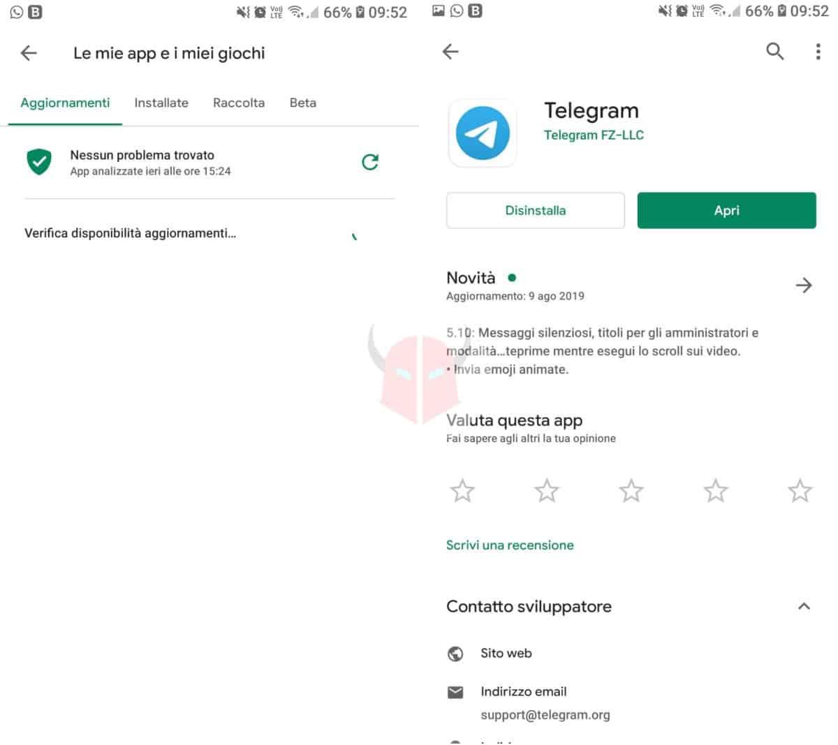 come aggiornare Telegram app Android