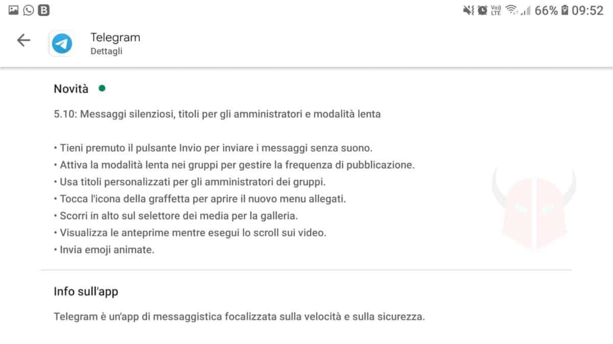 come aggiornare Telegram changelog