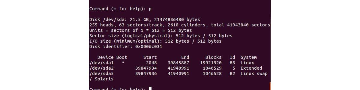 come formattare hard disk con prompt dei comandi Ubuntu esempio fdisk