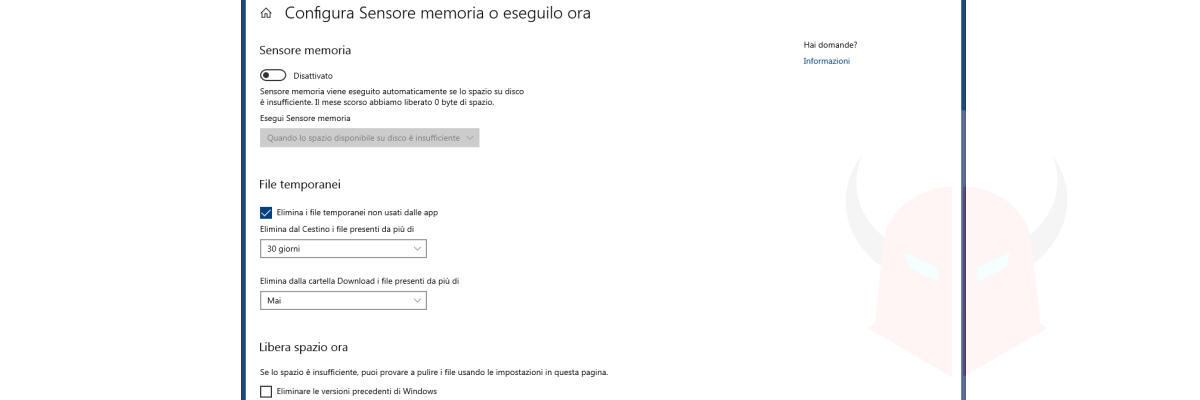 come liberare spazio su Windows 10 Sensore Memoria
