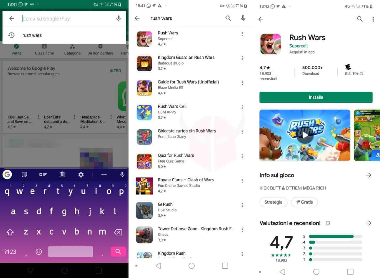 come scaricare Rush Wars sul Play Store con Android