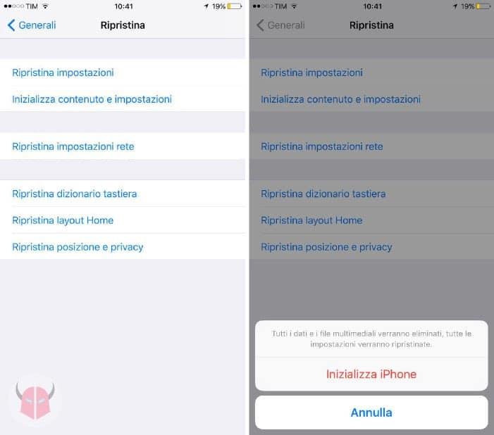 come togliere virus da iPhone impostazioni di ripristino iOS