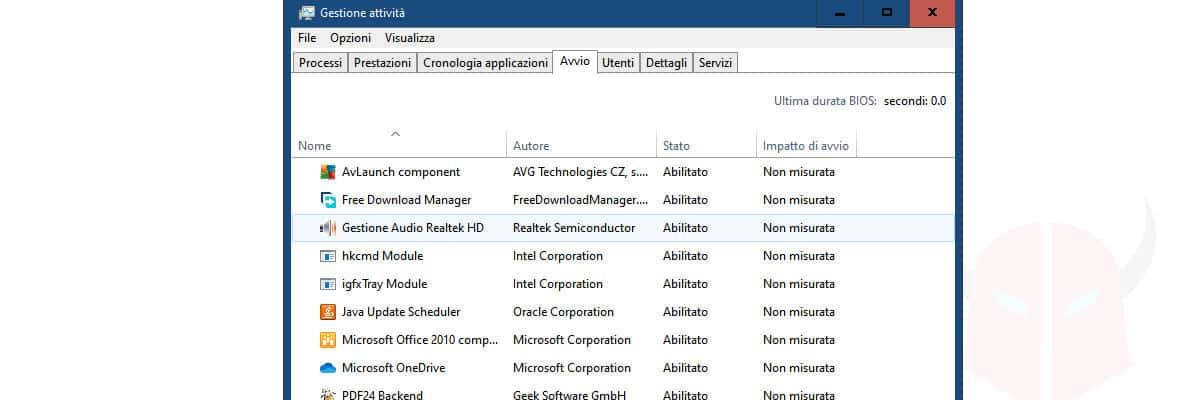 come vedere i programmi in esecuzione avvio Windows