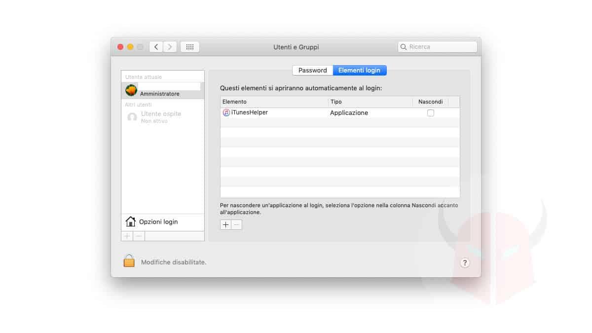 come vedere i programmi in esecuzione avvio macOS Elementi Login