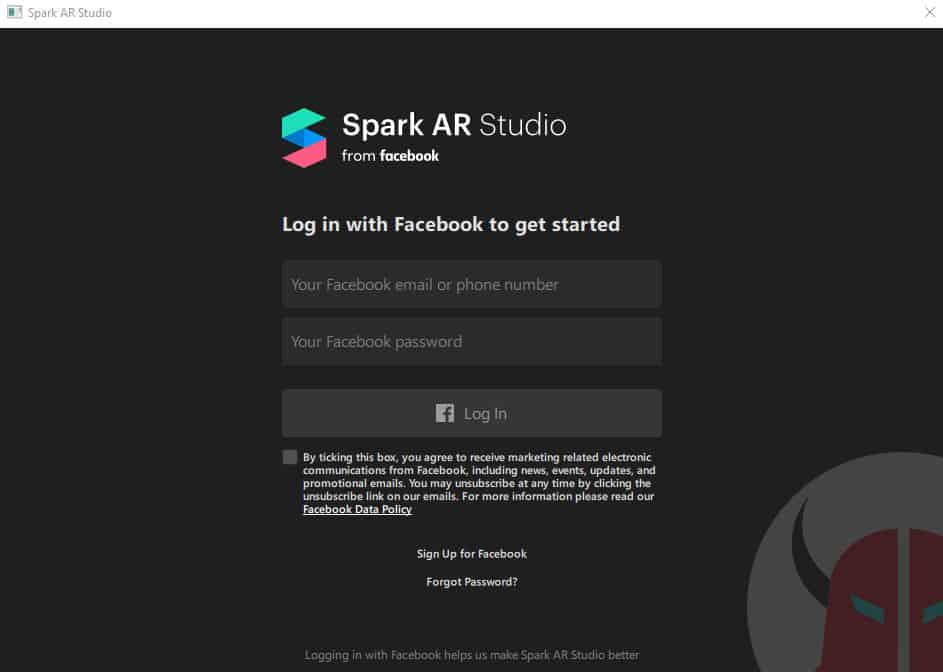 creazione filtri facciali con Spark AR Studio schermata di accesso con account Facebook