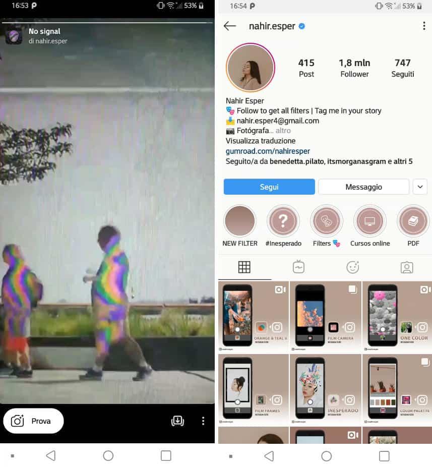 filtri facciali Instagram esempio account da seguire