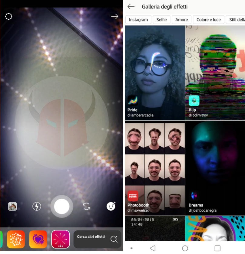 filtri facciali Instagram opzione Cerca altri effetti
