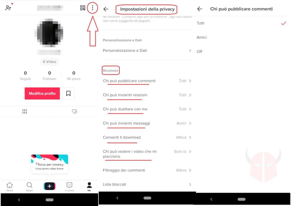 finire nei Per Te su TikTok impostazioni di privacy