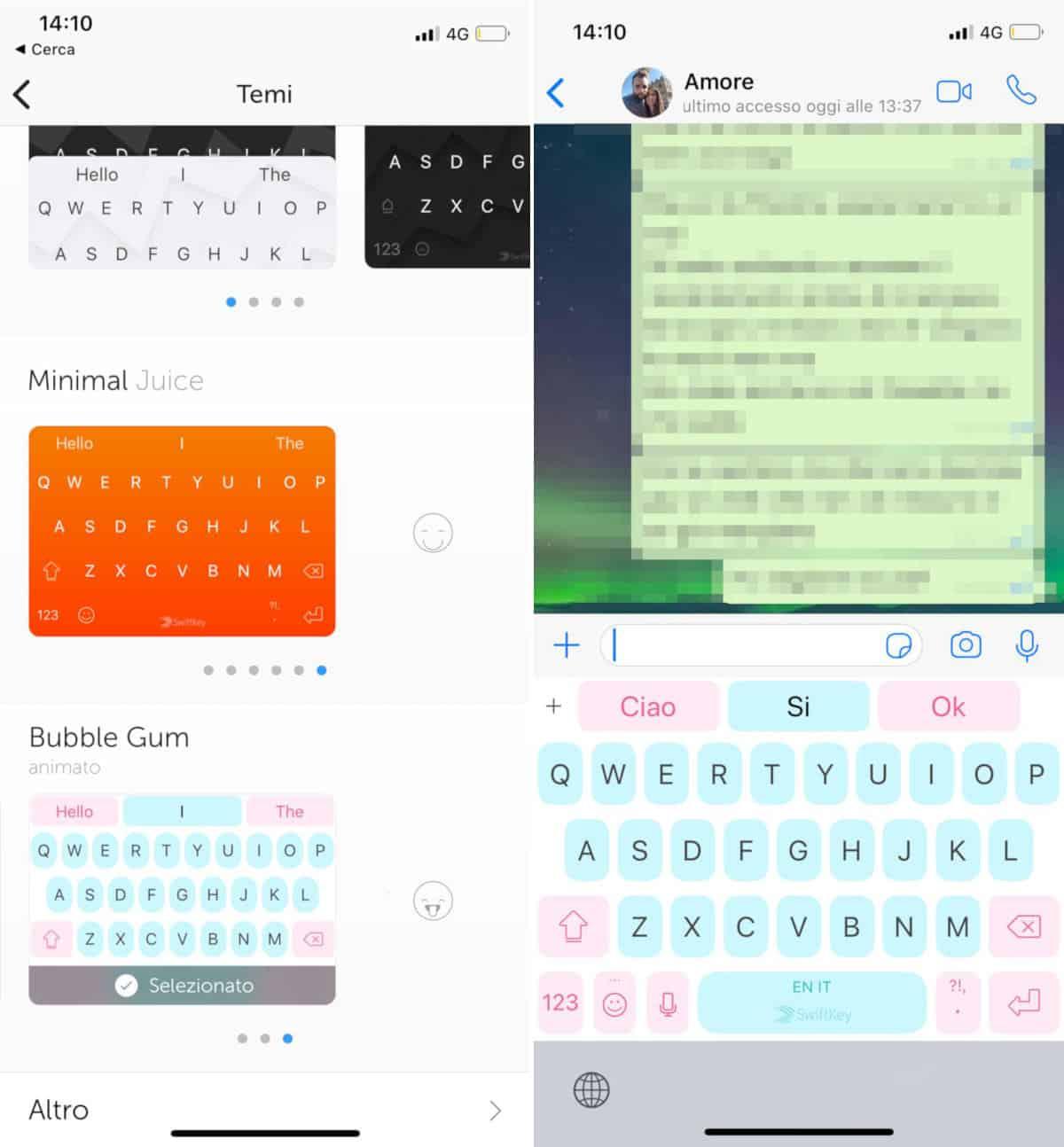 come cambiare tema WhatsApp tastiera iOS SwiftKey