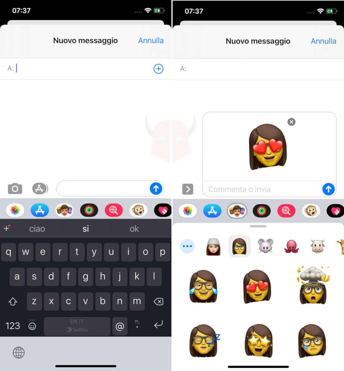 come creare Memoji su iPhone invio su app Messaggi