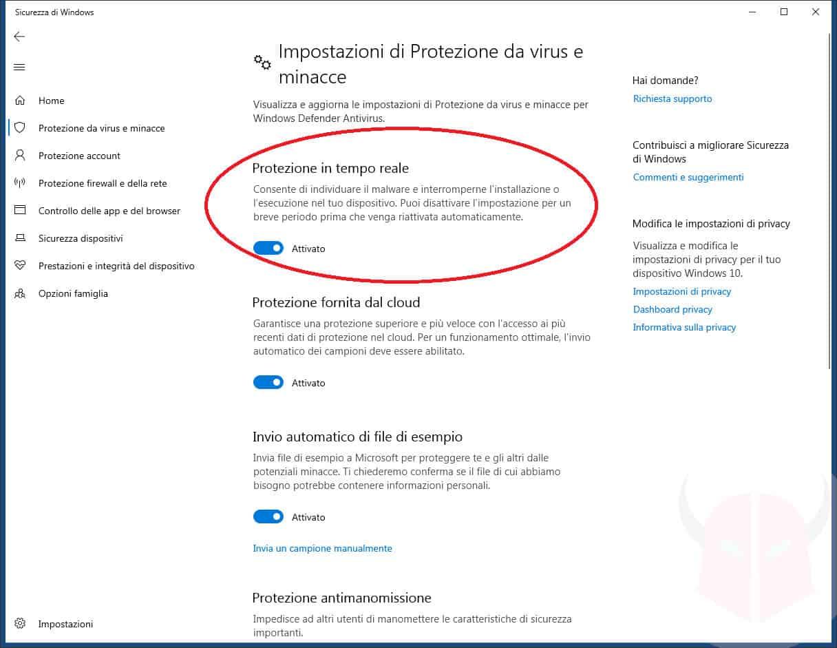come disattivare Windows Defender protezione in tempo reale W10