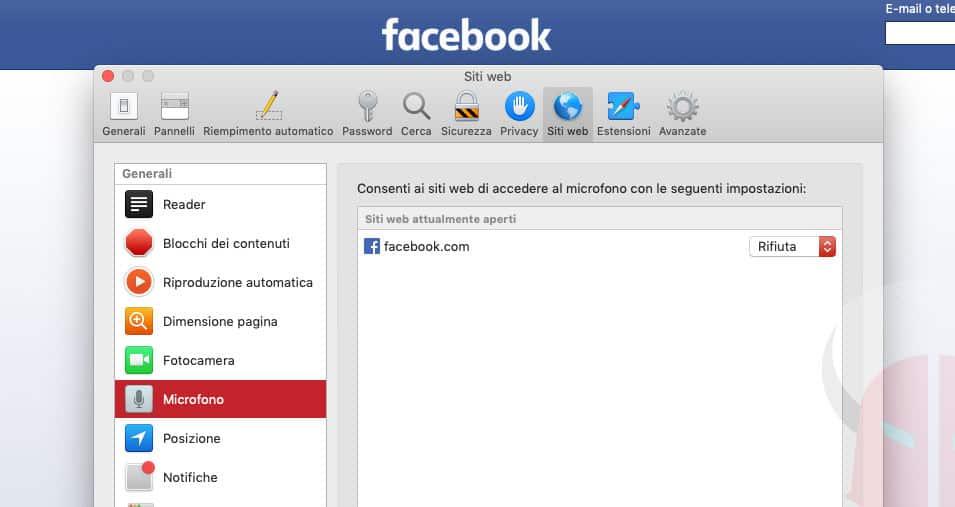 come disattivare microfono Facebook Safari