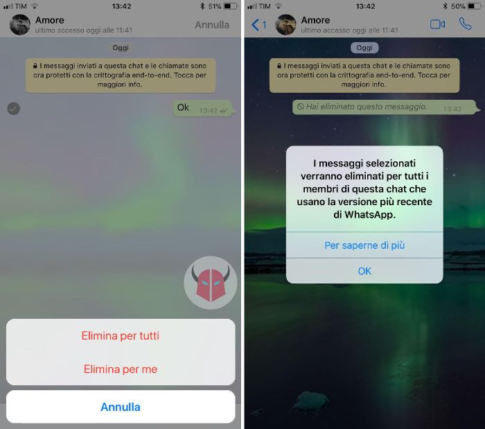 come inviare messaggi WhatsApp che si autodistruggono esempio messaggio eliminato
