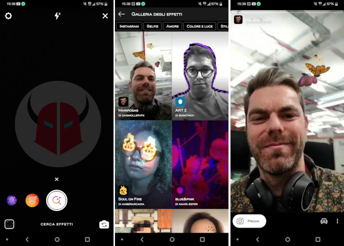 come salvare filtri Instagram download effetti AR