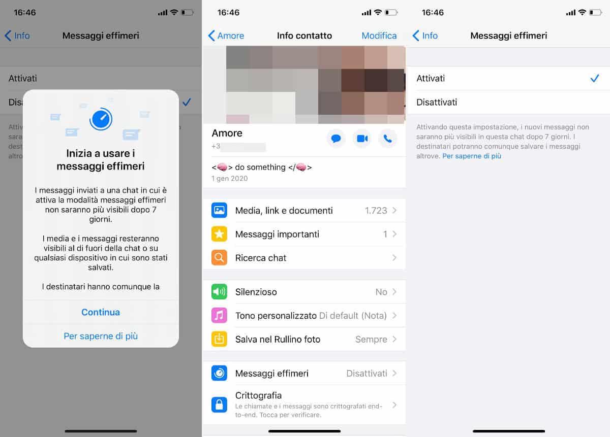 messaggi effimeri WhatsApp iPhone