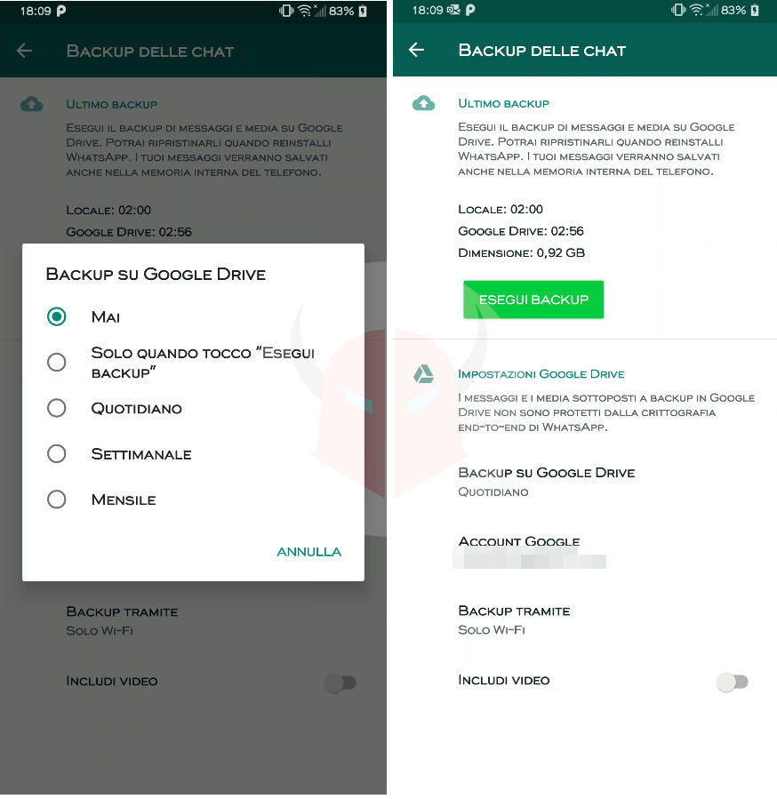 come fare il backup su Android chat WhatsApp su Google Drive
