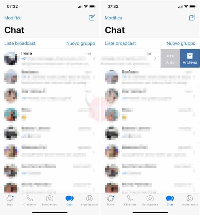 come nascondere i messaggi WhatsApp esempio archiviazione chat