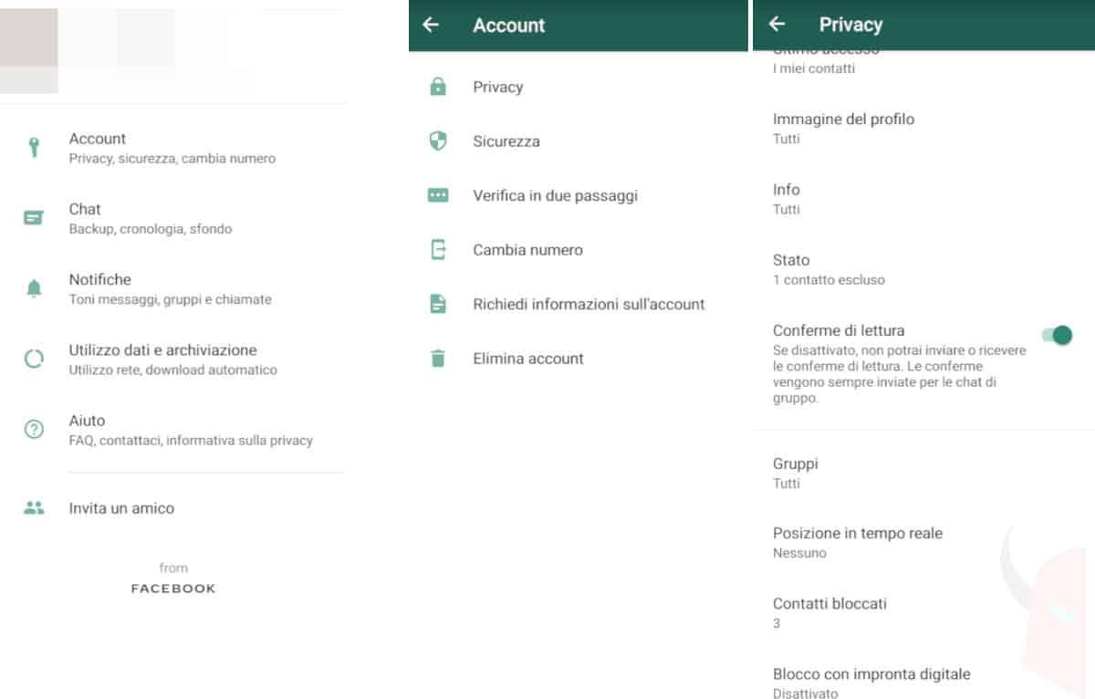 come nascondere i messaggi WhatsApp impostazioni privacy