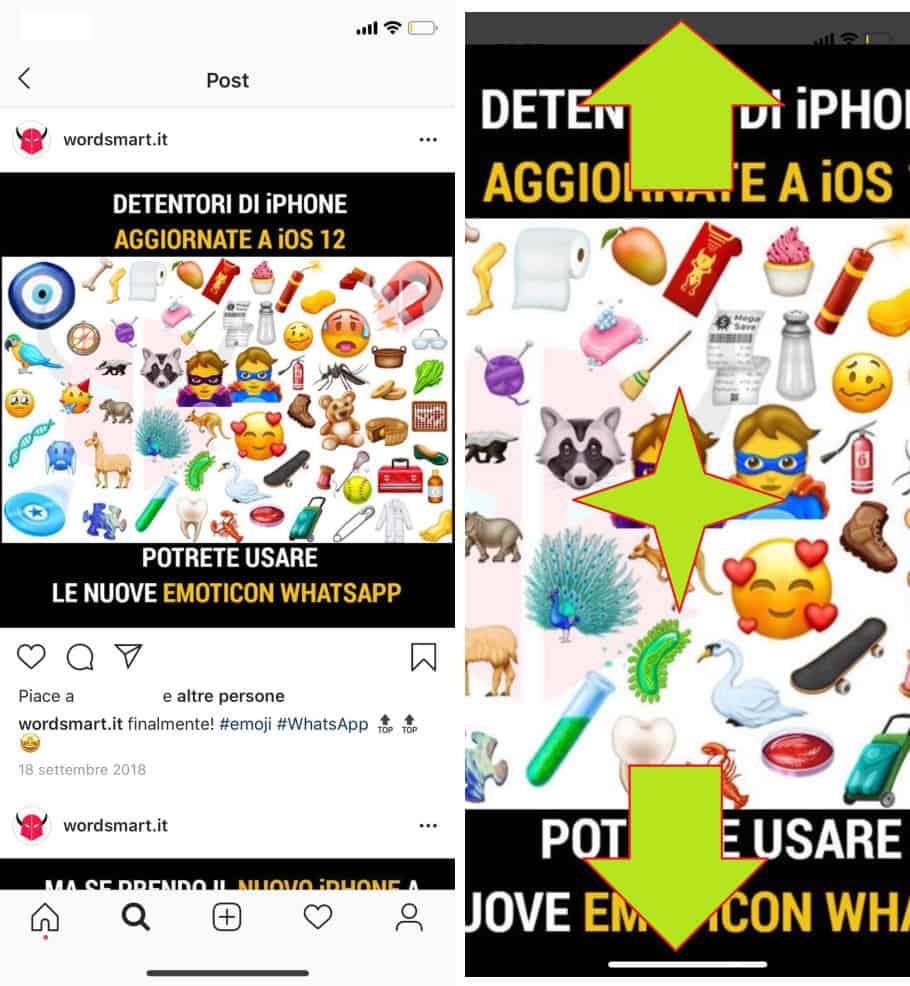 come zoomare su Instagram post