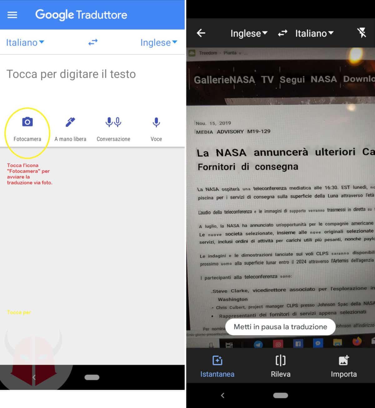 miglior traduttore inglese italiano Google Traduttore fotocamera