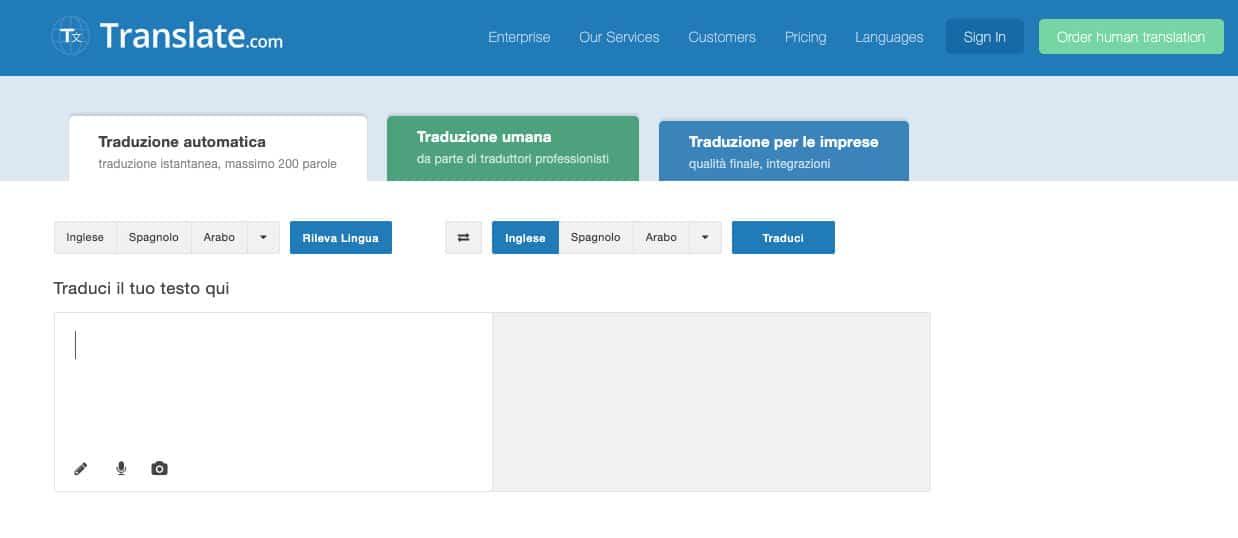 miglior traduttore inglese italiano sito web Translate