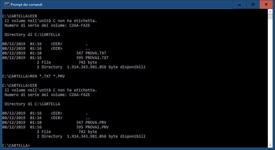 come cambiare l'estensione file su Windows 10 modifica multipla prompt dei comandi