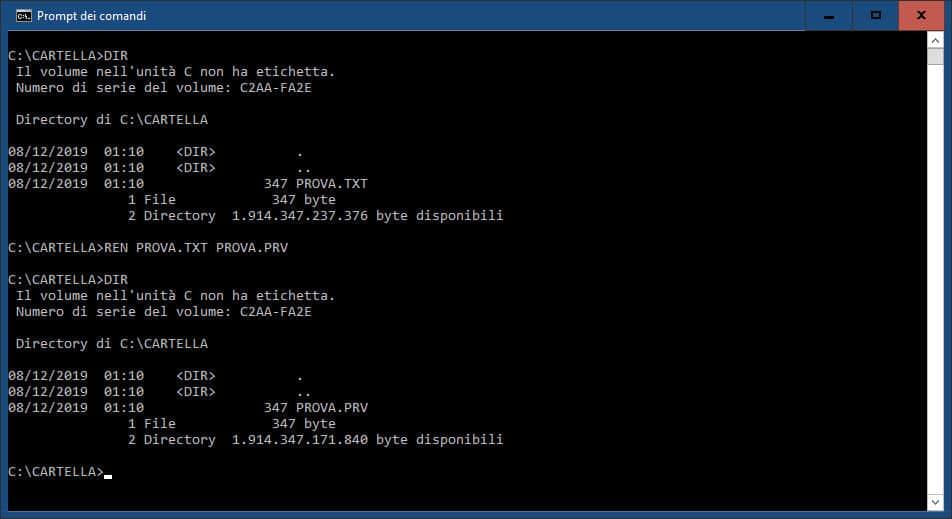 come cambiare l'estensione file su Windows 10 modifica singola prompt dei comandi
