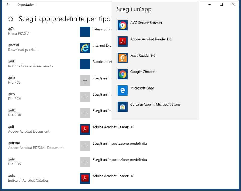 come cambiare l'estensione file su Windows 10 scelta app predefinite per tipo di file