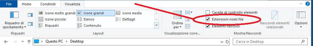 come cambiare l'estensione file su Windows 10 visualizzazione