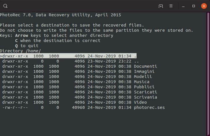 come recuperare file sovrascritti PhotoRec selezione cartella di salvataggio file ripristinati