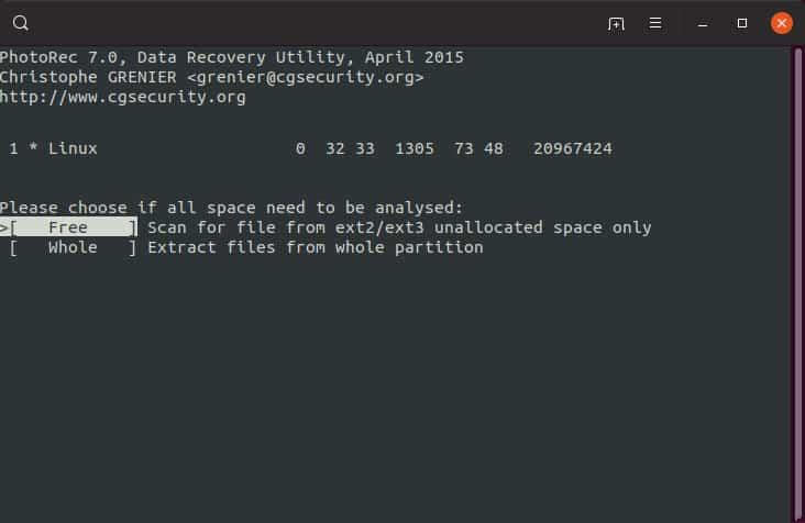 come recuperare file sovrascritti PhotoRec selezione dello spazio libero