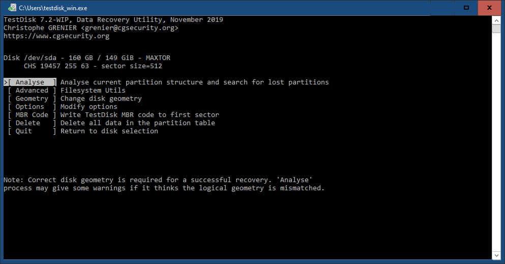 come recuperare i file eliminati dal cestino tool TestDisk analisi