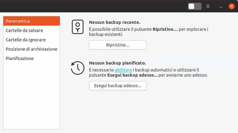 come recuperare i file sovrascritti sezione backup di Ubuntu