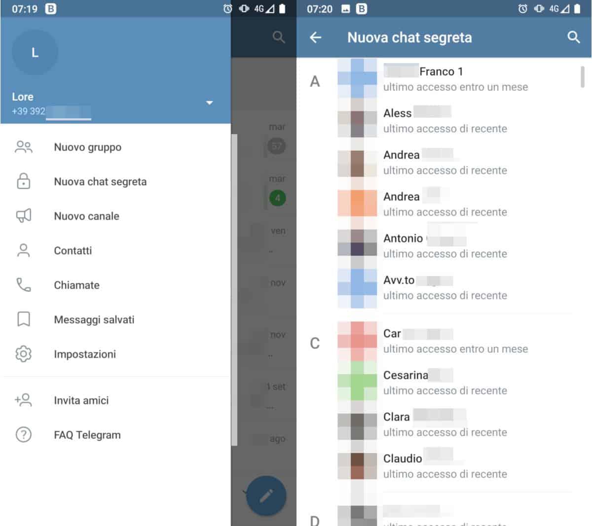 ultimo accesso di recente su Telegram visualizzazione tempistiche in rubrica