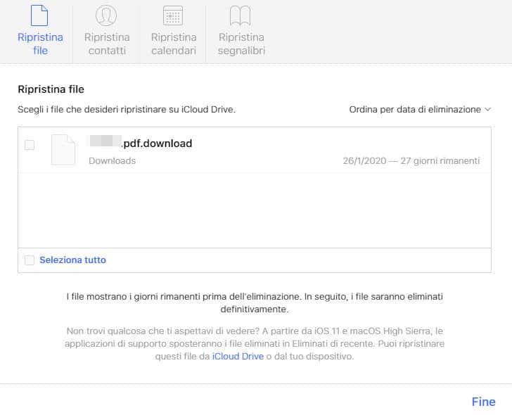 come cancellare dati da iCloud ripristino documento cancellato