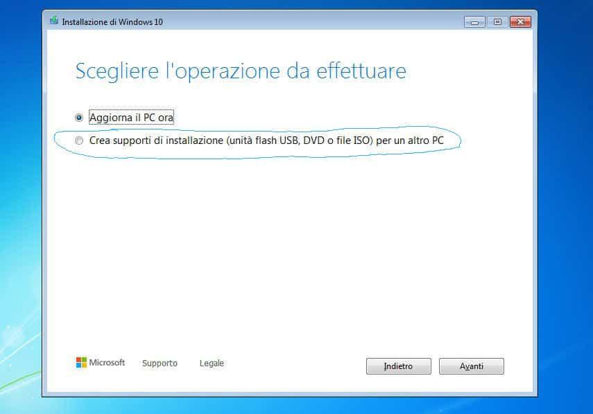come passare da Windows 7 a WIndows 10 creazione supporto USB avviabile