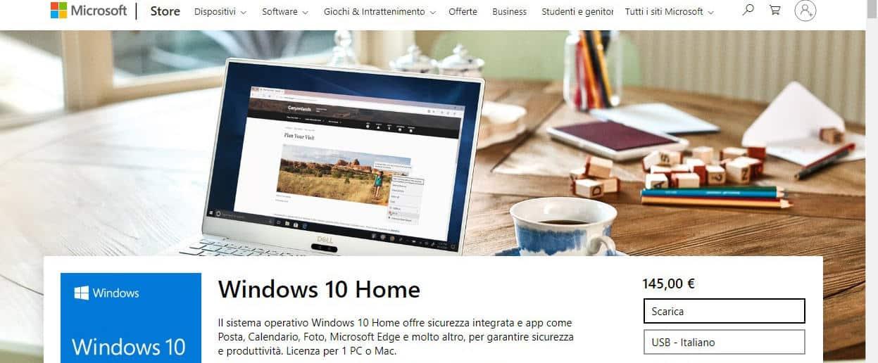 come passare da Windows 7 a WIndows 10 licenza Retail Microsoft Store