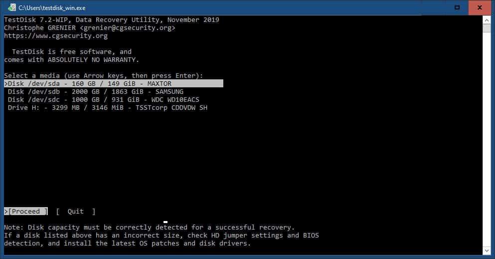 come recuperare la cronologia cancellata da Chrome esempio TestDisk