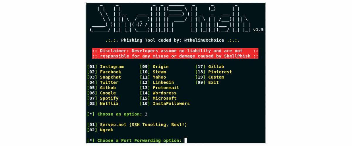 come scoprire la password di Instagram esempio tool ShellPhish